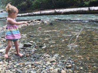 My daughter throwing a rock into the river! - Brandi Whitchurch