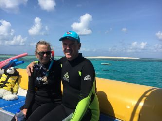 My first ever snorkel on the Great Barrier Reef in Australia no less.  What a rush! -  LeeAnn and John Lehni